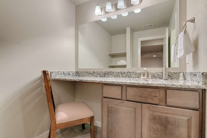 This third full bathroom located on the lower level of the home will be shared by those in the two bedrooms downstairs.