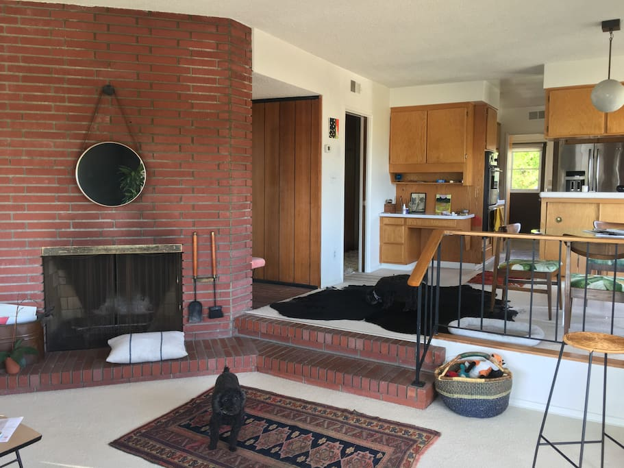 fireplace, entry and kitchen
