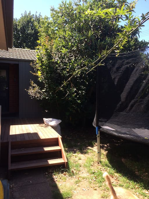 View of granny flat and trampoline from carport