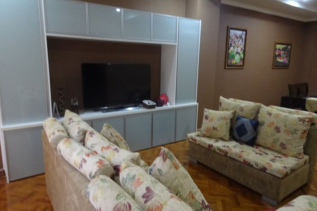 Lounge with 48 inch TV, multi-channel satellite