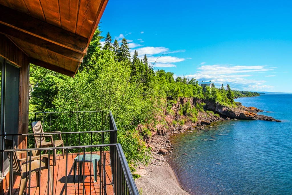 Being on the upper level you have fabulous views of Lake Superior along with access to a private section of Lake Superior shoreline.