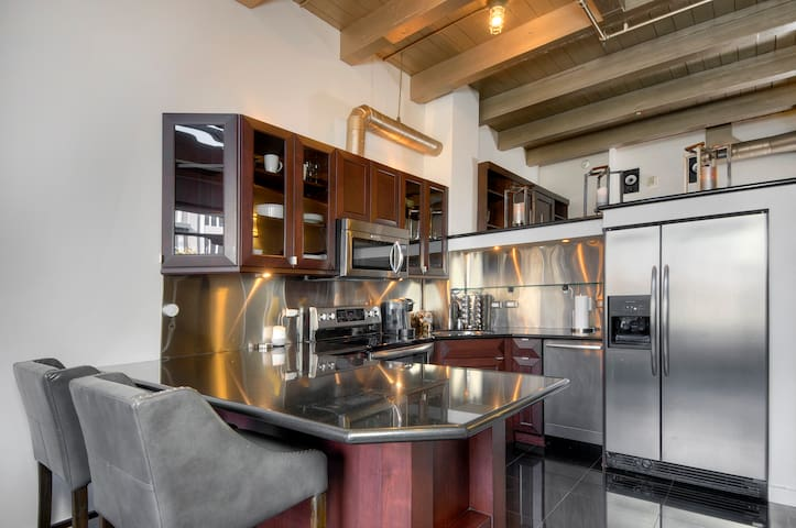 Gourmet kitchen with counter dining