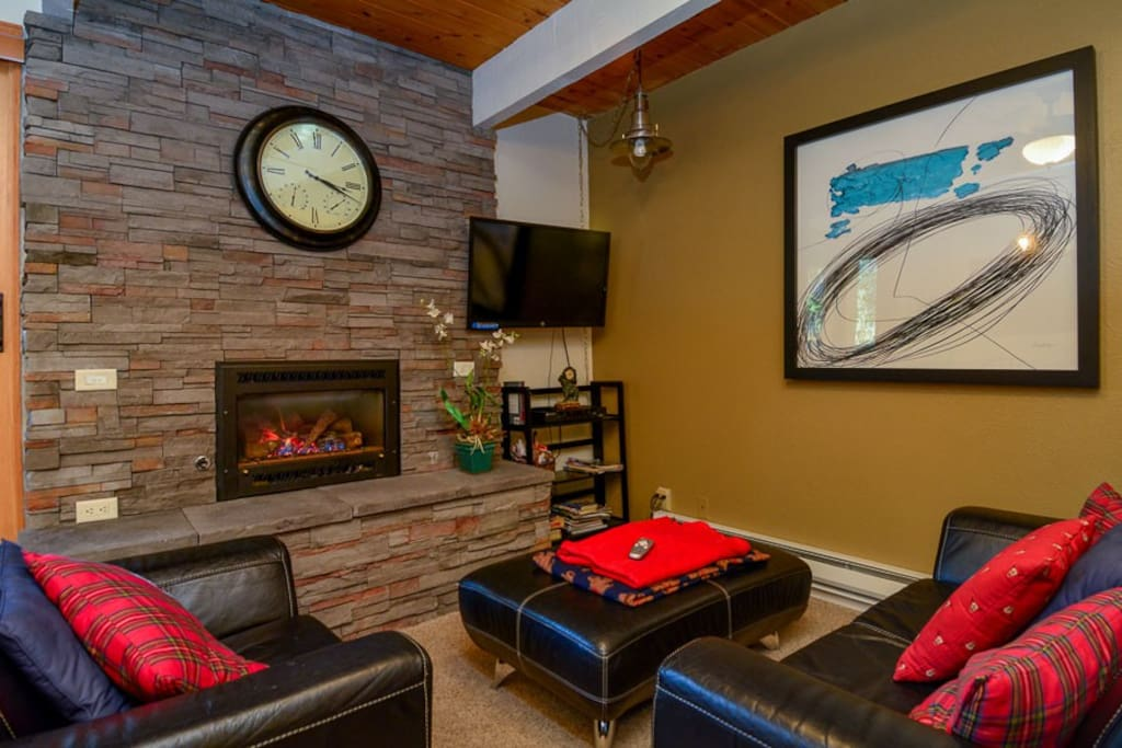 Enjoy your favorite shows by the gas fireplace.