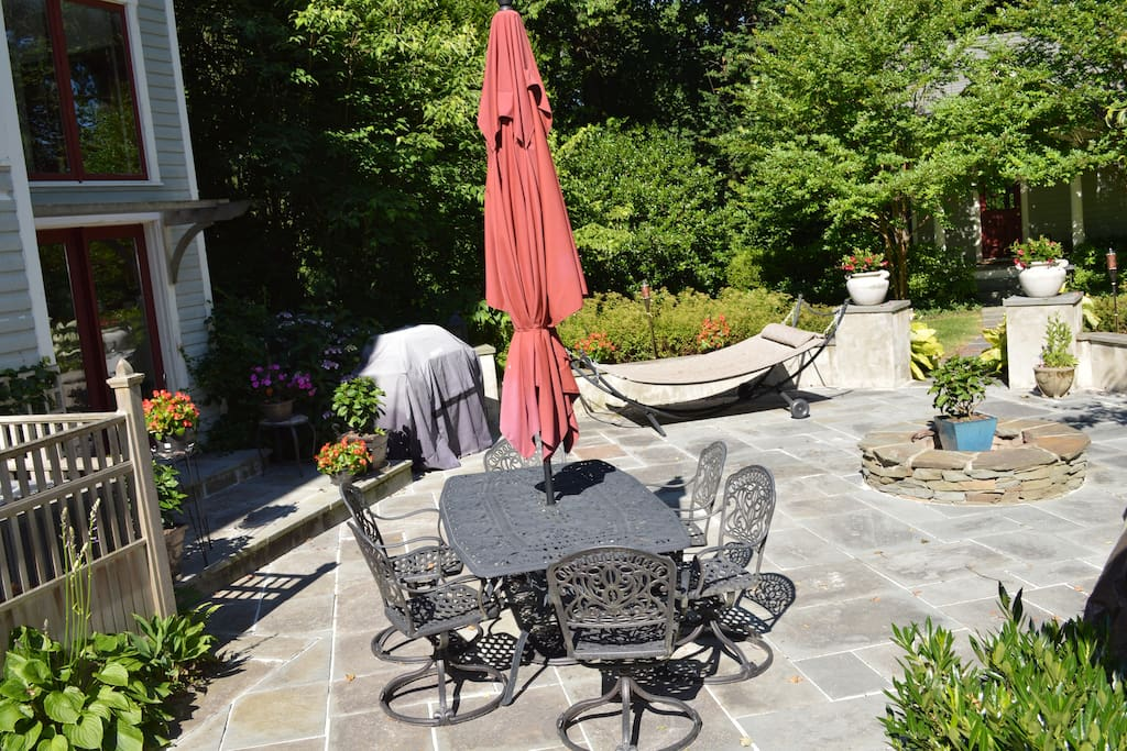 The patio outside your door. Let us know if you want to use the fire pit!