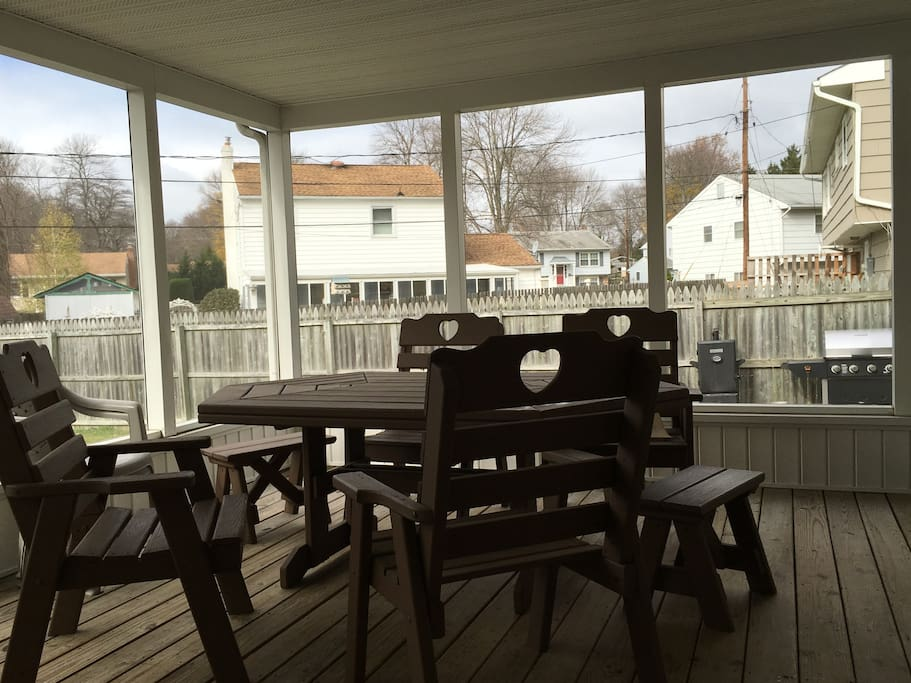 Screened-in-Patio; Backgrounds Displays Fenced-in Backyard with Grill & Smoker