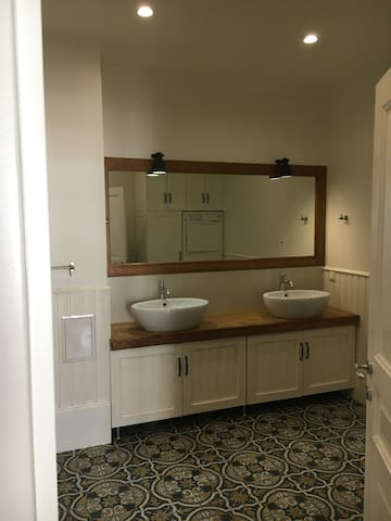 Double sink in master bathroom