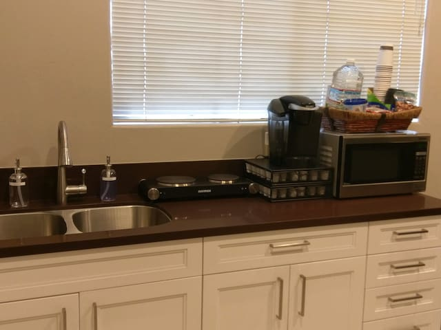 Hot Plate, Keurig & Pods, Microwave in Kitchenette