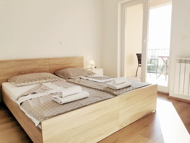 2-bed-bedroom with the balcony