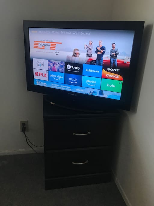 The TV features DirecTV Now, and Amazon Firestick loaded with Netflix and many other apps