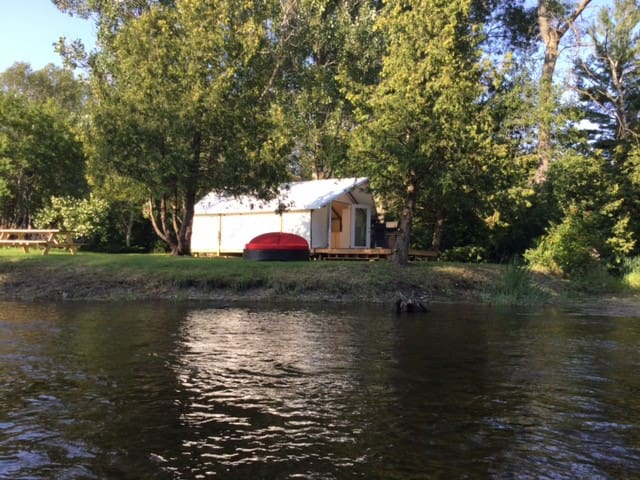Glamping on the Talbot River with a hot tub.