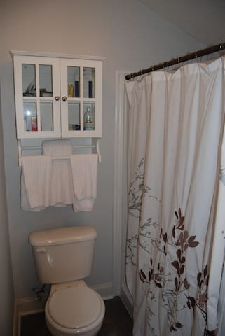 Shower with seat.