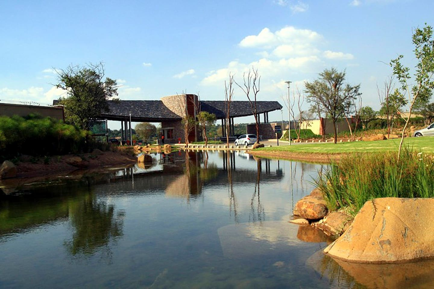 The estate is situated in a pristine green belt along the riverside
