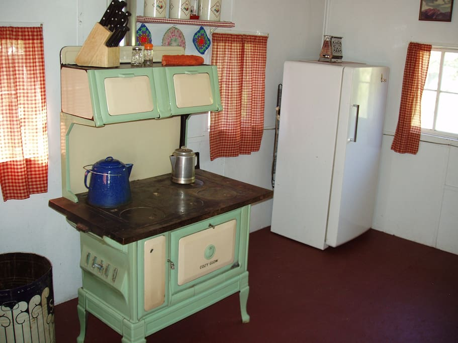 Antique fridge and wood burning cook stove