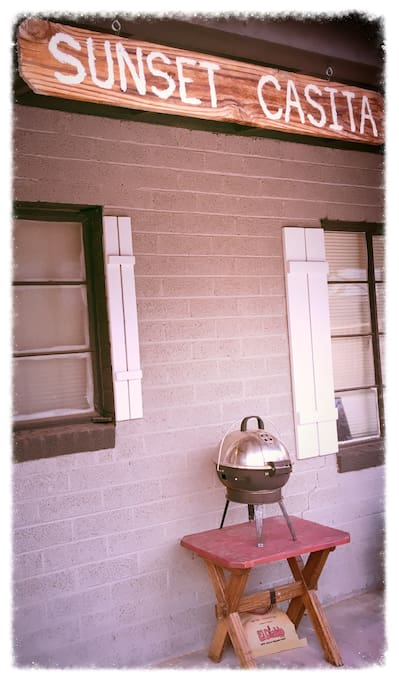 Charcoal Grill available for outside cookouts under a covered porch.  Those who do need to smoke are welcome to out on the porch.