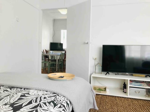 Lounge Room - Queen day bed and large 50 inch hisense LED smart TV with WIFI and Netflix