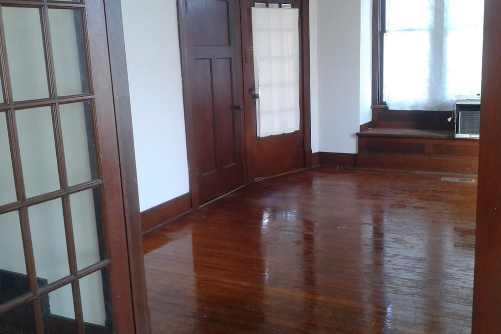 Great room. comes with one queen double-high air mattress plus linens. Easily room for additional mattresses or sleeping bags