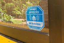 Zmodo Security on the front door for to make guests feel a bit more safe.