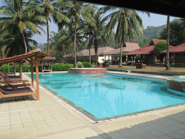Pool view from resto