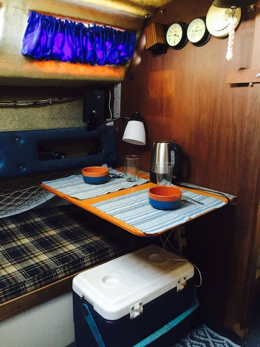 Fold out table, ice chest, and electric kettle