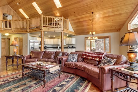 Lakefront home w/ private dock, beach, firepit, playground, deck & game room!