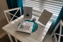 Guestbook, local information book, and Alexa with concierge service.