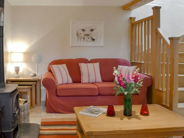 """⭐️ The lounge area to the cottage with log burner.  Angela, from Yorkshire: """" Your cottage is lovely & very well equipped - there was absolutely everything we could possibly have needed. Also many thanks for the lovely weather!"""""""