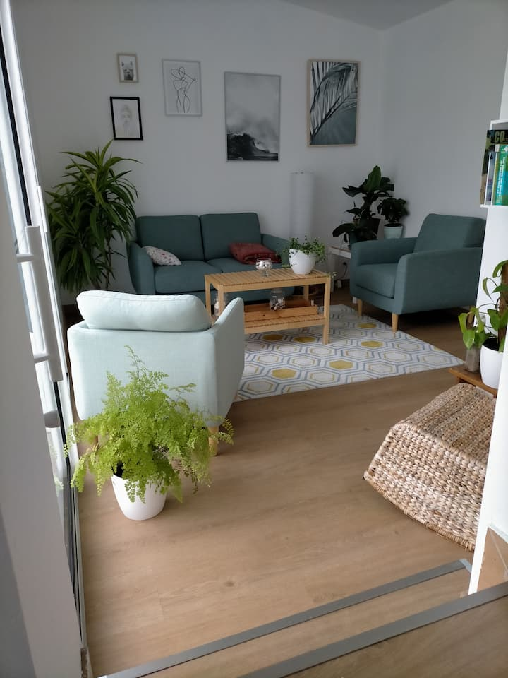 Une chambre et son salon, espace  indépendant