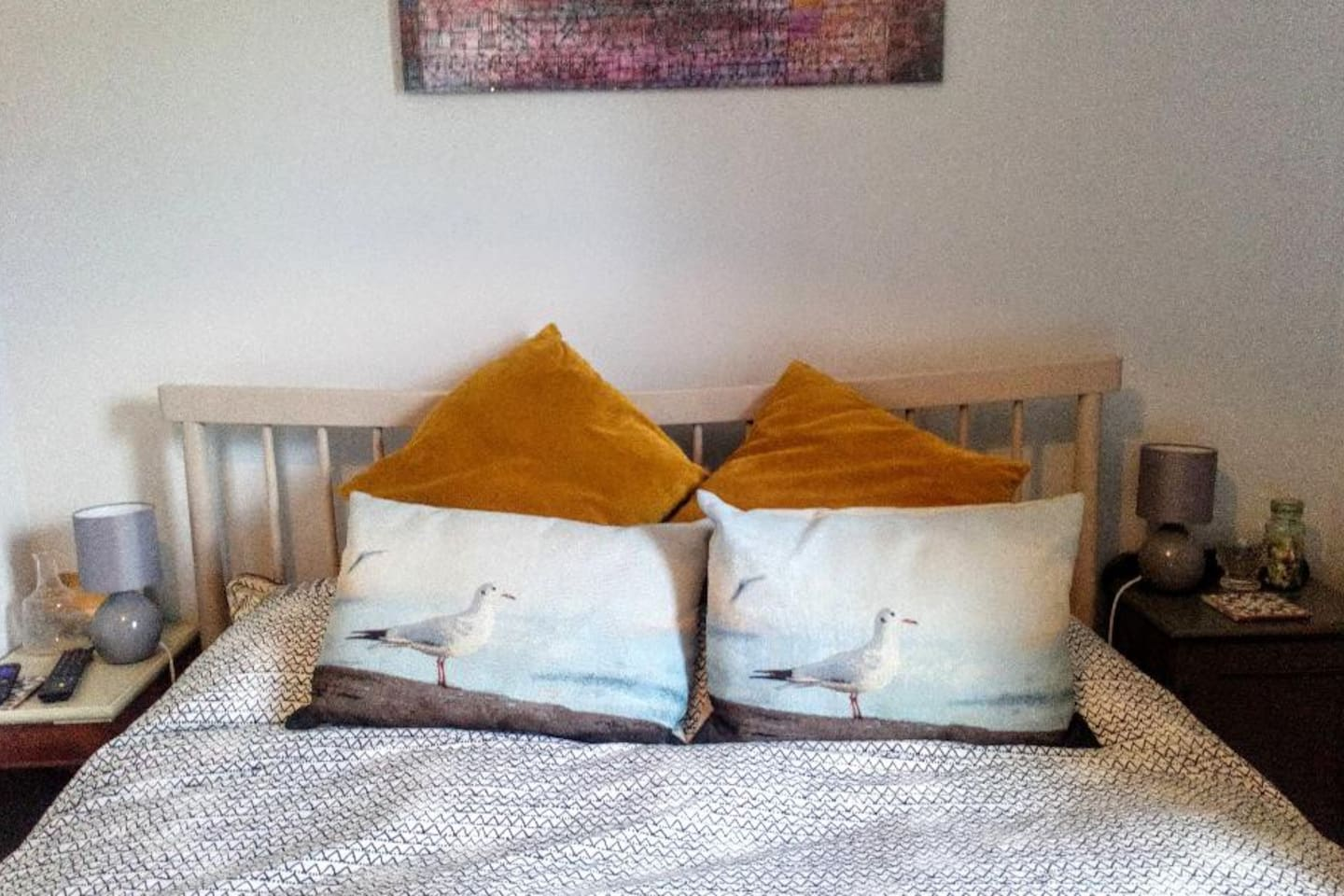 """Kingsize bed with bedside lamps either side. There's a good sized wardrobe for storage. Your room has a 32"""" TV with Netflix, hairdryer and a kettle for tea and coffee."""