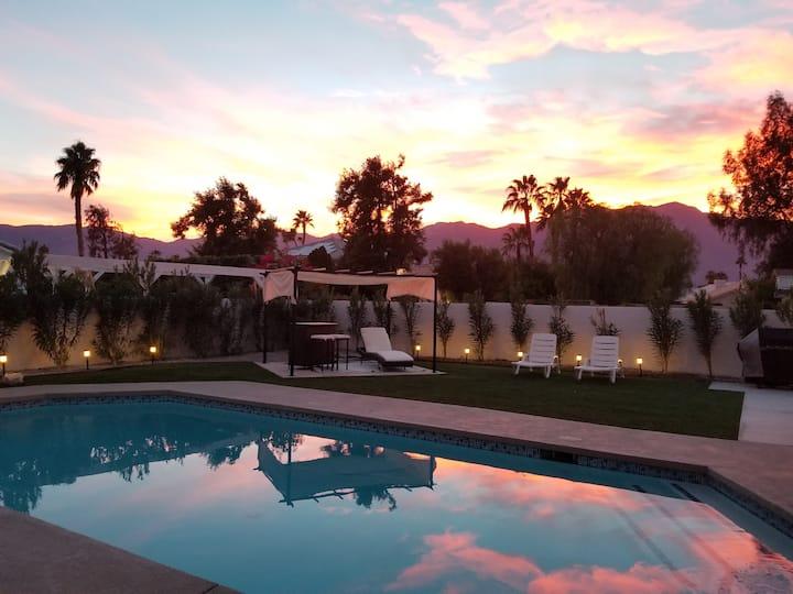 Resort-like desert pool home with mountain views