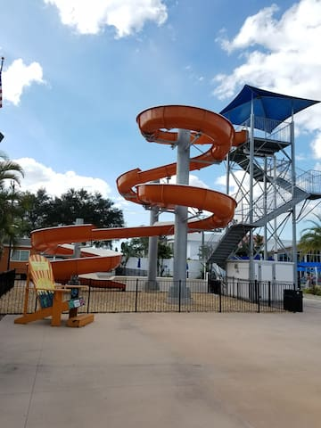 Part of the FUN here is this water slide open only during the summer months. The pool area has a large outdoor bar with a restaurant and plenty of seats...