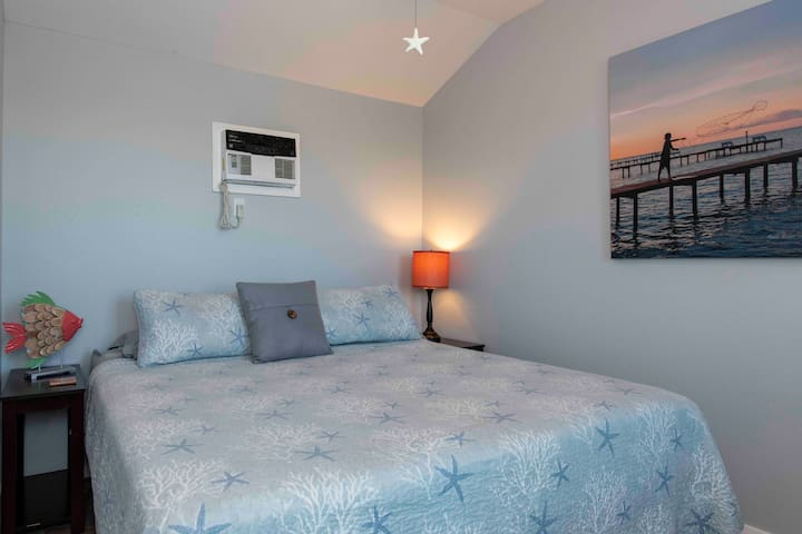 Comfortable California King size bed that can be converted into XL Twins if needed, cable TV with Netflix and dresser, towels, shampoo, conditioner, soaps, lotions DVD player and steamer Incase you need to look extra good fishing.