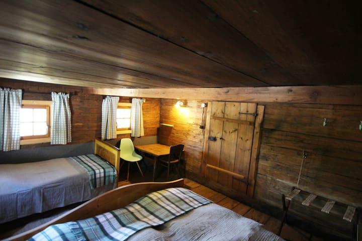 Das Mint-Zimmer mit drei Schlafplätzen.