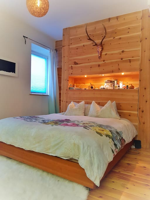 Zirbe (swiss pine) floor and wall.  Top class goose & duck down pillows & duvet.