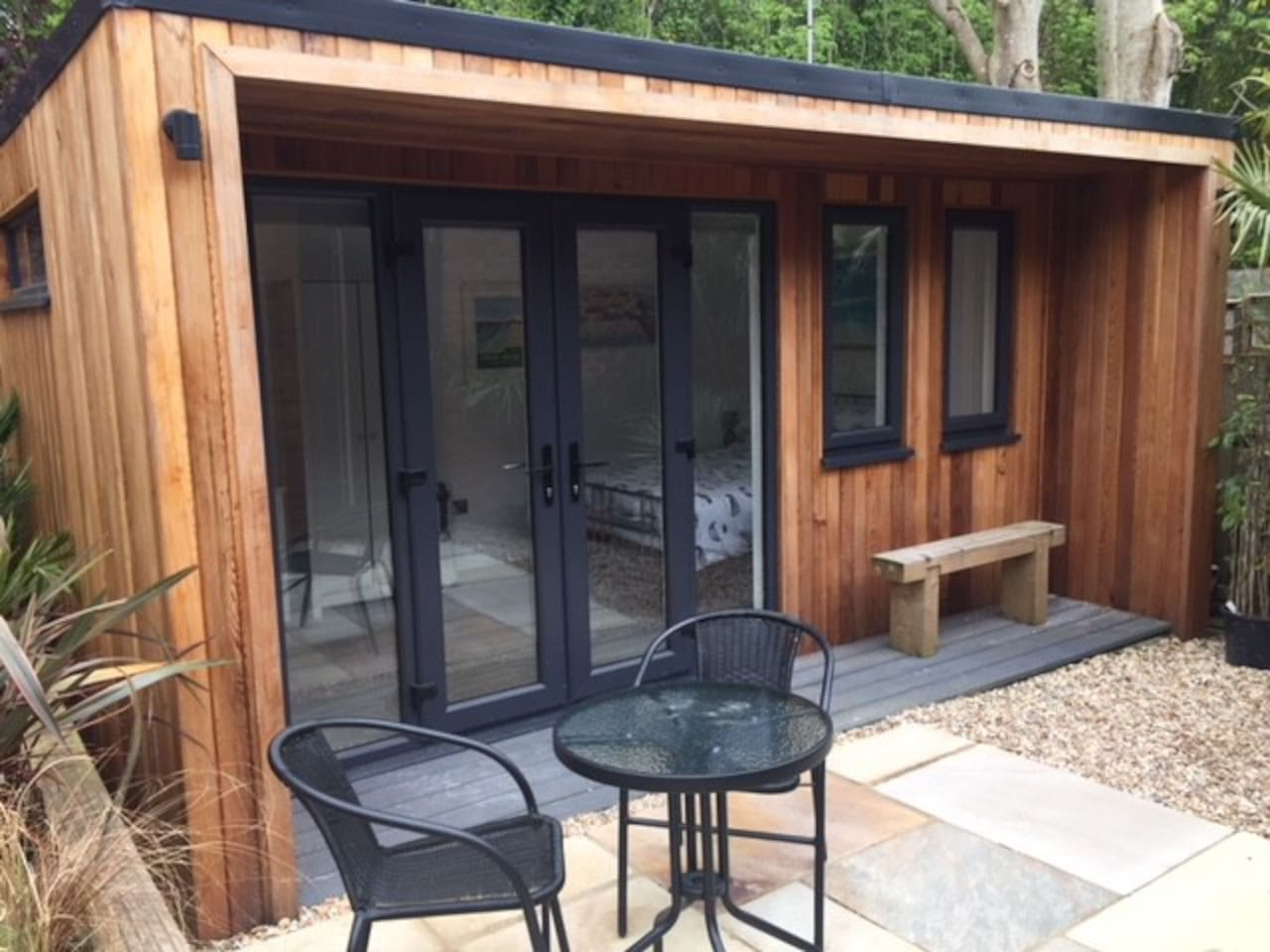 A beautiful private cedar cabin with its own outside seating area and small garden space. Guests have their own entrance and safe off road parking, on our double driveway.
