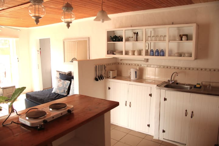 fully equipped kitchen with fridge, microwave and 2 plate stove. We provide tea,coffee,sugar and milk