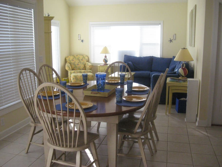 Enjoy the eating area and comfortable family room