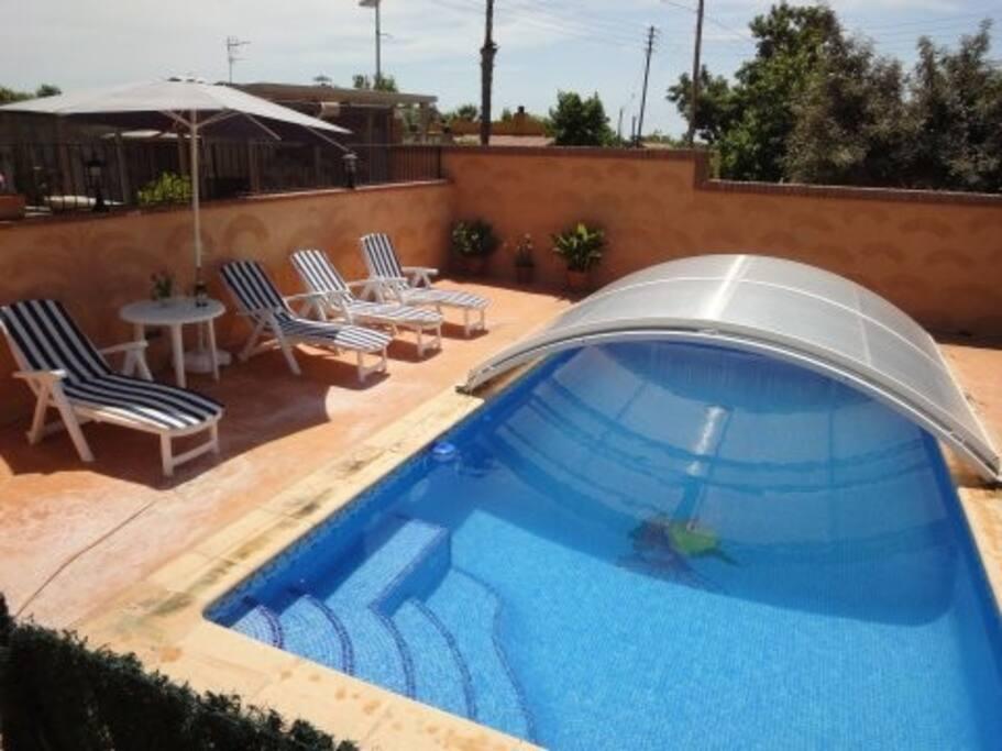 Half covered pool