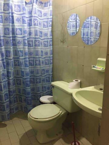 Baño Con cortina, y sus útiles de aseo: jabón, shampoo, papel higiénico y tualla.
