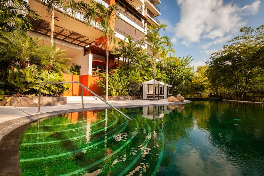 Emerald colour heated swimming pool