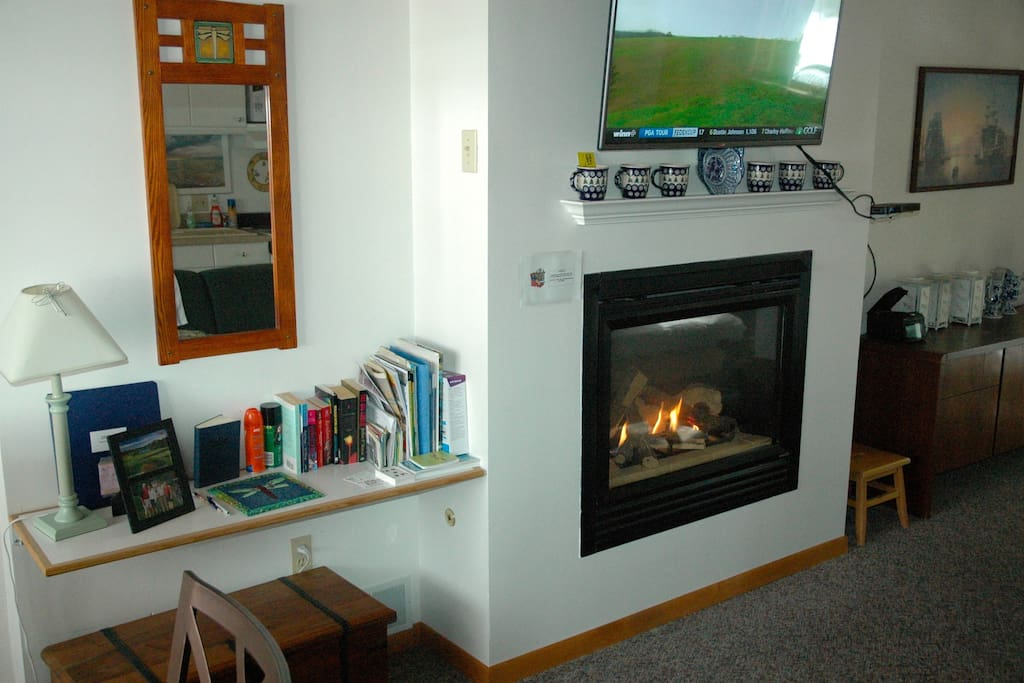 North Unit Fireplace and flat screen TV