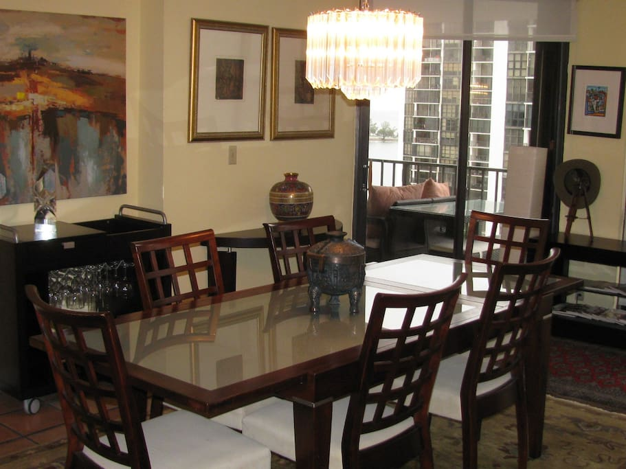 Dining table, can seat up to 8 people