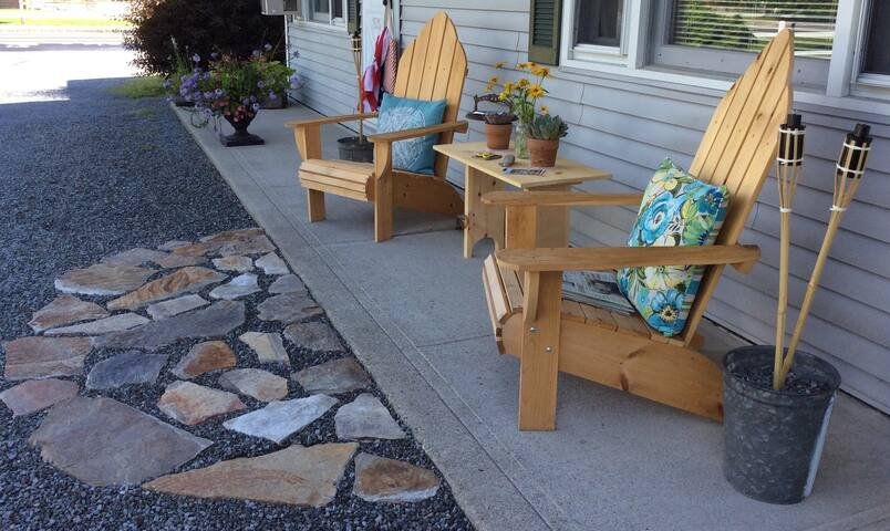 Outside sitting area in the summer