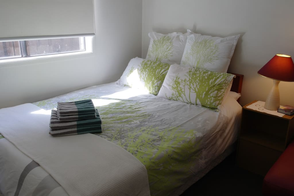 Room1 : Green room with a queen size bed - ideal for a couple, a small family, business trip