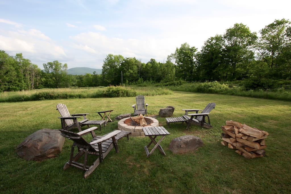 View of Windham Mountain  from Fire Pit and Big Daddy Adirondack Recliners