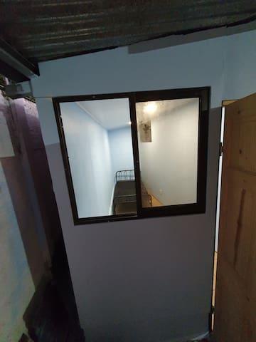 Climbing wall room front window