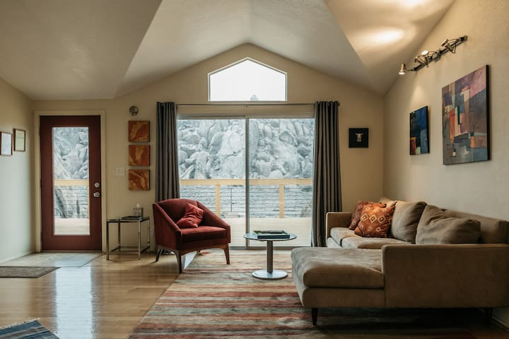 The living room has spectacular views of the surrounding rock formations