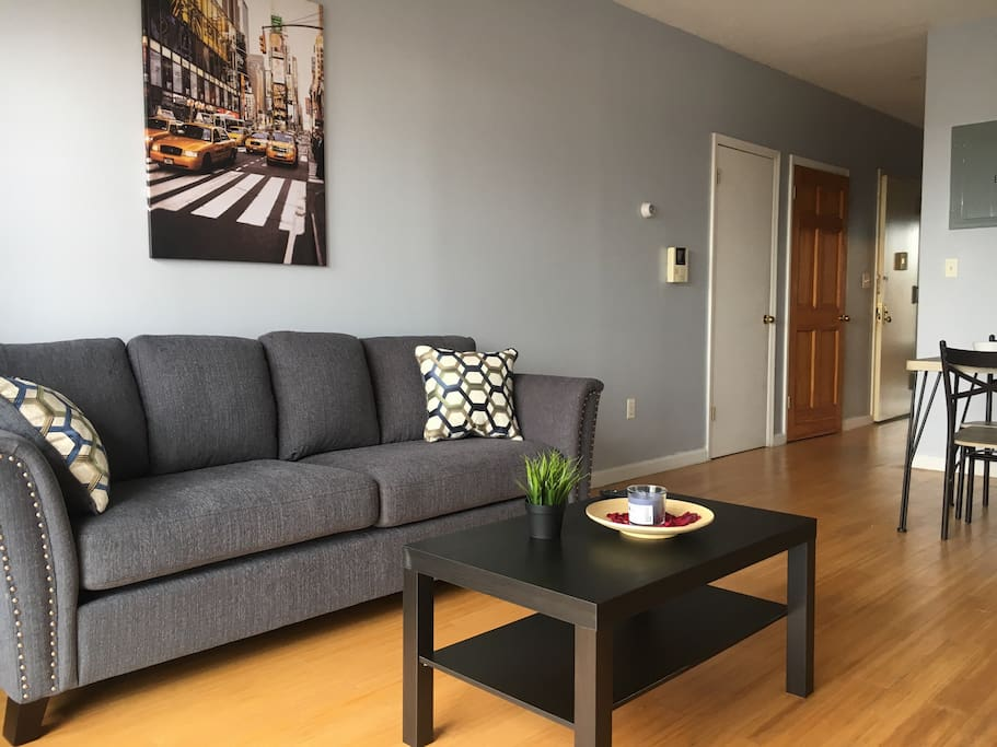 Spacious Living room/Dining room with balcony and view to Downtown Flushing