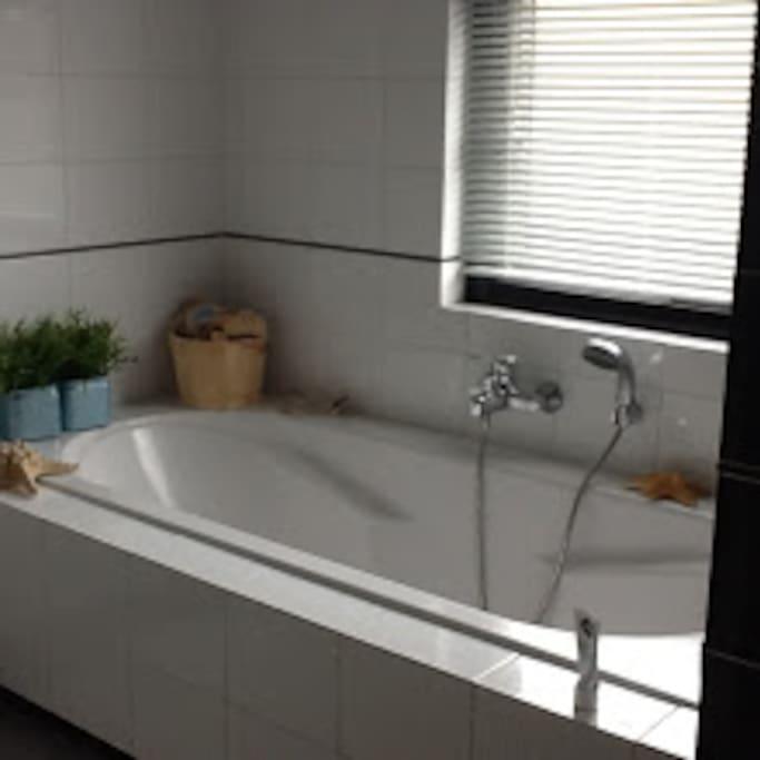Ruime badkamer met ligbad, losse douche, toilet en dubbele wastafel