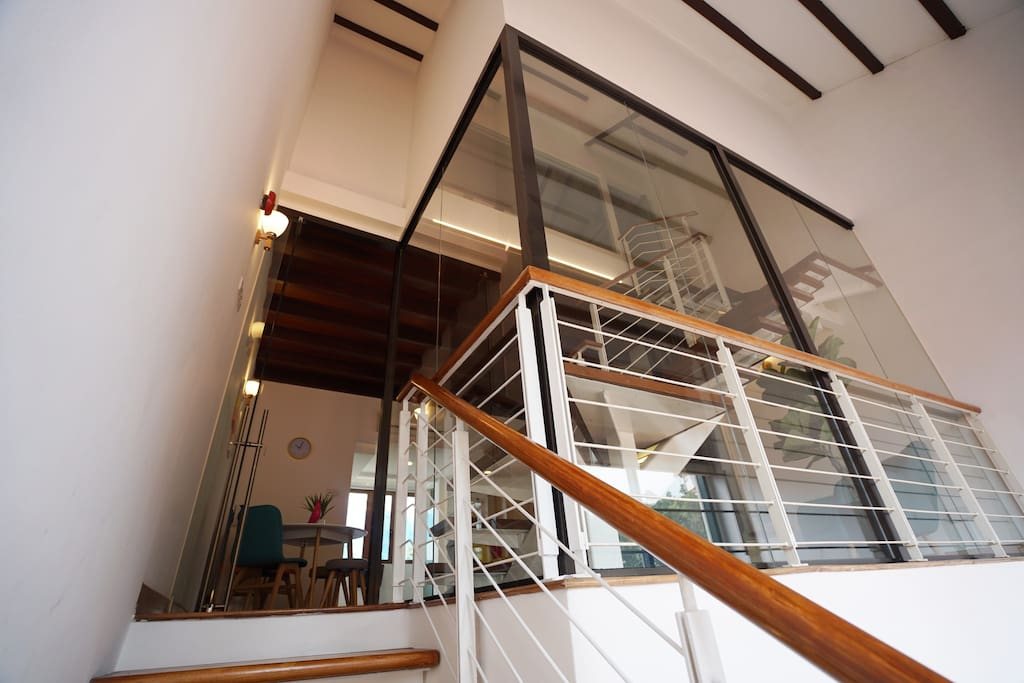 Staircase on the 4th floor to the self-enclosed Fitzroy Loft! **Note - listing might be unsuitable for guests with walking disabilities, infants and older guests due to being located on the fourth storey of the house **