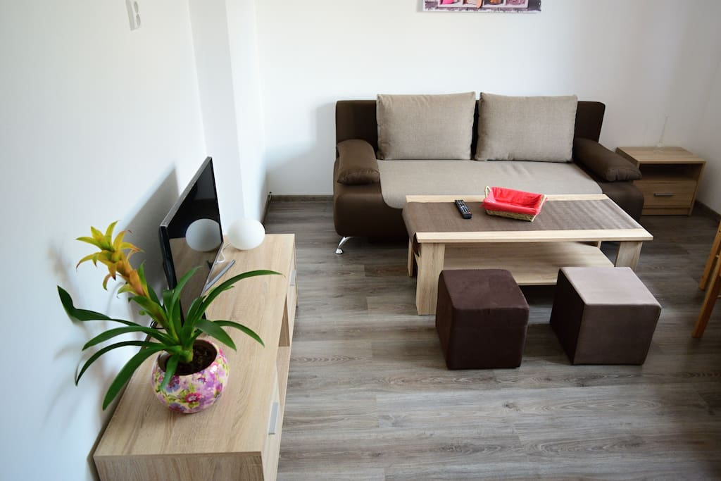 Obývacia miestnosť spojená s kuchyňou a rozťahovacím dvojlôžkom
